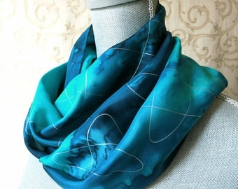 Ocean Blues with Silver Hand Dyed Silk Scarf