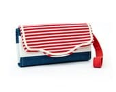 Lovely nautical accordion Wallet, Cotton canvas, 12 cards slots, 2 big zipper pockets, Strap left or right, cross-body strap on request