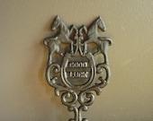 Good Luck! - Vintage Cast Iron Trivet - Vintage Metal Plant Stand or Trivet - Horse and Horseshoe Lucky Trivet