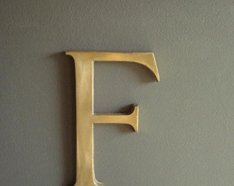 F is for... - Brass Paperweight Letter F Monogram - Vintage Brass Letter for Your Wall - Letter F Sign Letter