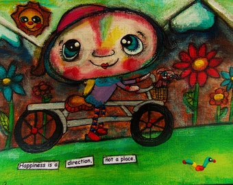 Girl on an Adventure Bicycle through the mountains Original Painting