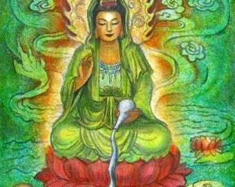 Buddhist Goddess Kwan Yin spiritual art Zen Buddhism dragon print female Buddha poster of painting