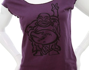 Happy Lucky Buddha T Shirt. Hotei. Peace Buddha. Art by MATLEY. Sexy Soft Jersey top. American Apparel lightweight Tops. Yoga. Gift for her.