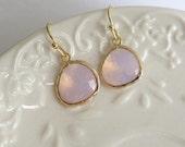 Rose Water Earrings, Pink Opal Earrings, Pink Halo Earrings, Pink Drop Earrings Gold, Bridesamid Jewelry Everyday Feminine Jewelry