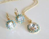 Mint Crystal Jewelry,Bridal Jewelry Set,Swarovski Jewelry,Mint Crystal Jewelry,Summer Wedding,Bridal Necklace Earrings Halo Diamond Crystal