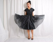 Plaisir_vtg 80s black full skirt dress_Batman swing