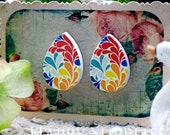 Buy 1 Get 1 Free - 20pcs  (WH30)  Tear Drop  Handmade Photo Wood Cut Cabochon (Back White)