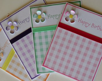 Birthday Card Set of 4 Gingham Collection (BDS1502)