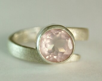 Rose Quartz Sterling Swirl Ring, Contemporary Jewelry, Silver Satin Band, Faceted Pink Gemstone Ring, custom size