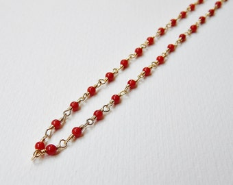 Red Coral Necklace - Gold Filled Beaded Rosary Necklace Beadwork Necklace Rosary Chain