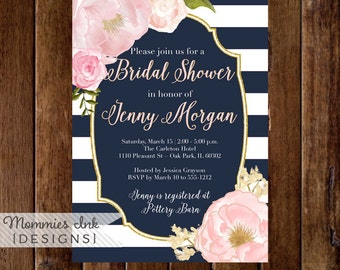 Watercolor Peonies Bridal Shower Invitation, Navy and White Stripes Shower Invitation, Watercolor Pink Roses, Gold Glitter Invitation, NAVY