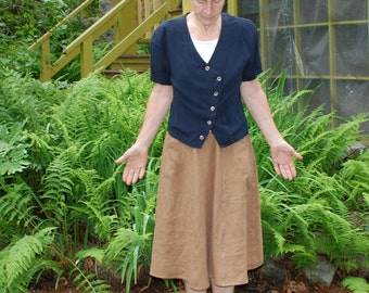 Linen Skirt 6 Gores - Mid length with deep pockets Ginger