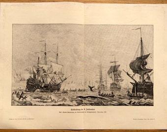 1900 WHALING ANTIQUE PRINT original antique marine landscape lithograph