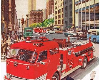 vintage mid century red fire truck illustration digital download