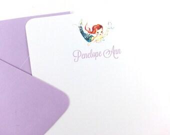 Lavender Vintage Mermaid Thank You Notes, Mermaid Stationery - SET OF 12