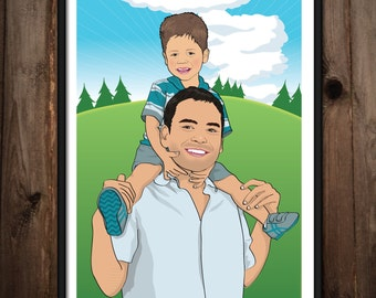 Father's Day Poster - Illustrated from your photos PRINTABLE FILE