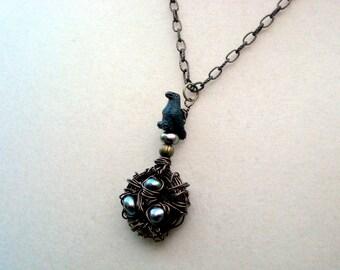 Raven's Bird Nest Pendant Necklace