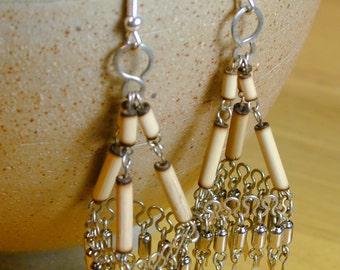 FREE SHIPPING Beautiful Vintage Boho Chandelier Silver Tribal Earrings Peru Peruvian Dangle