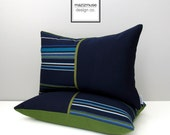 TWO Navy Blue & Green Pillow Covers, Modern Outdoor Color Block, Decorative Throw Pillow Case, Striped Sunbrella Cushion Cover, Masculine