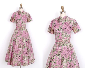 Vintage 1950s Dress / 50s Floral Print Gigi Young Dress / Pink and Green (S M)