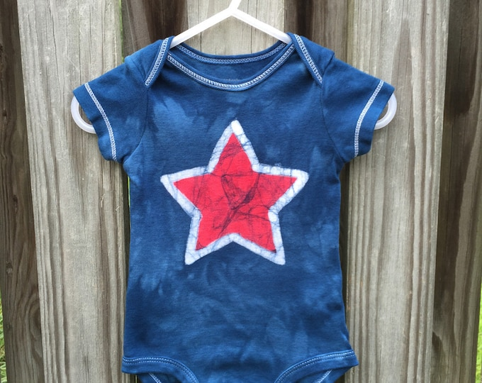 Featured listing image: 4th of July Baby Bodysuit, Patriotic Baby Bodysuit, Fourth of July Baby Shirt, Red Star Baby Bodysuit, Patriotic Baby Shirt