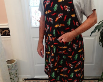 READY TO SHIP: Hot Wheels Motif,   barbecue/ chefs apron, generously sized to fit most individuals,long ties, with two pockets