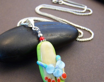 Flip flop Beaded Pendant - Lampwork Glass Bead with Sterling Silver Necklace