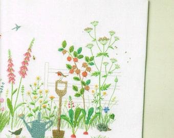 Hand Embroidery Design, English Wild Flower Pattern, Kazuko Aoki, Japanese Easy Stitching Tutorial, Herb, Flower Garden, Floral Motif, B1635