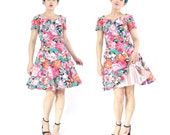 50% OFF SALE 80s Floral Full Skirt Dress Tulle Crinoline Dress Off Shoulder Party Dress Garden Pink Black Floral Cotton Mini Dress (XS/S)