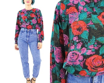 90s Floral Long Sleeve Tshirt Jersey Black Floral Blouse Rose Print Shirt Slouchy Pullover Top Comfy Boho Grunge Long Sleeve Blouse (S/M)