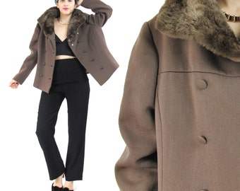 50% OFF SALE 1950s Brown Coat Cropped Wool Coat 50s Winter Coat Cropped Jacket Fur Collar Double Breasted Peacoat Jacket (M/L)