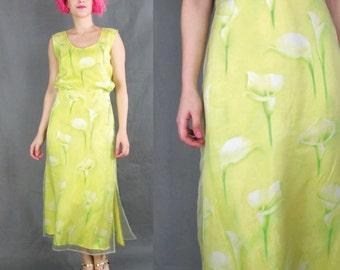 50% OFF SALE Vintage Escada Dress Yellow Floral Dress Floral Silk Dress Two Piece Set Matching Outfit Sheer Tank Top Designer Skirt (M/L)