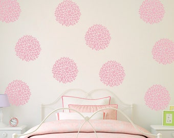Flower Wall Decals (Set of 10) - Peony Flowers - Flower Decor for Girls Bedroom