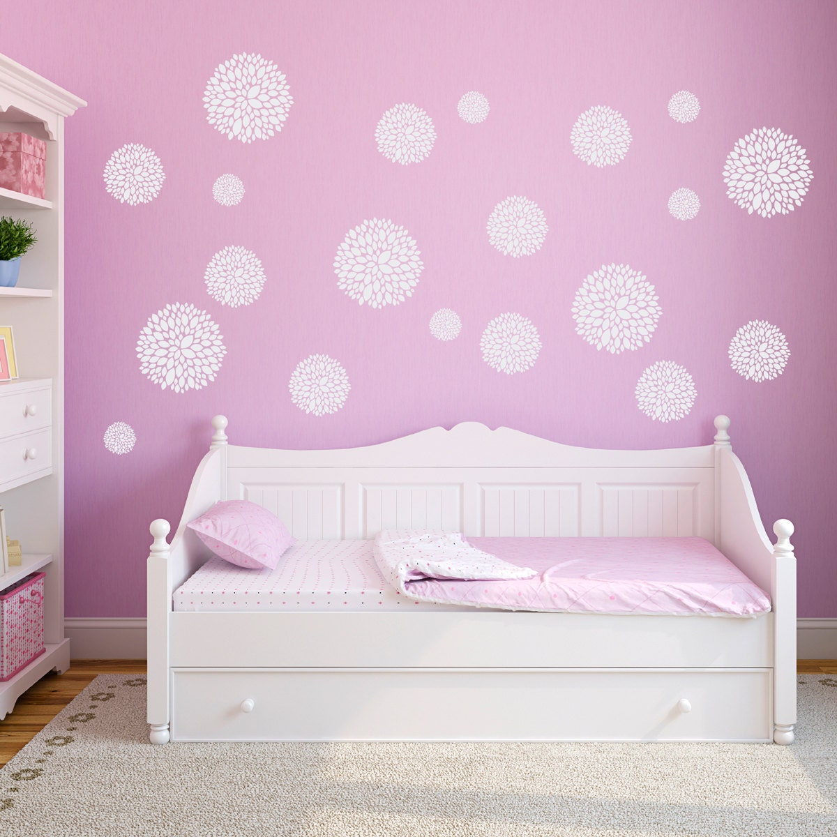 Peony Flower Wall Decals Set Of 20 Flowers Girls Bedroom
