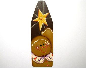 Gingerbread with Star Ornament, Christmas Ginger Ornament, Handpainted Wood