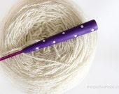 4mm Crochet Hook, Purple polymer clay handle with White Polka dots, Made-to-order, other colours available