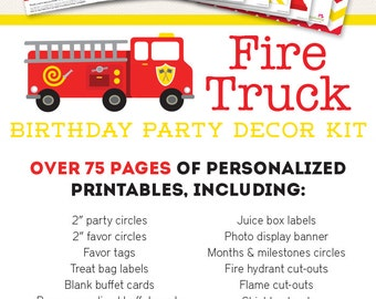 Fire Truck Birthday Party Printable Decor Kit - Over 75 pages of fun designs!