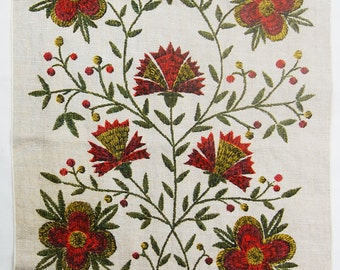 1760 Embroidery Look Signed Vintage Floral Linen Tea Towel John L. Gieroch - Colonial Style - Folk Art - Early American