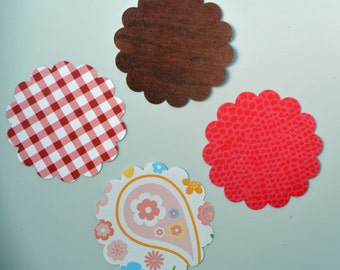 50 Assorted Scalloped Die Cuts - 1 3/4 inches