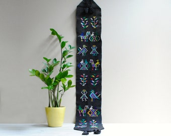 Vintage Textile Runner, Hand Embroidered Black Guatemalan Wall Textile or Table Runner, Folk Art