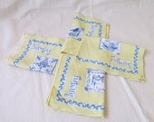 Vintage Set of 4 OLD DELFT Table Linen Place Mats or Dish Towels in Yellow, Blue, and White ~ Each One is Different ~ Excellent Condition ~