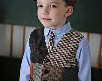 Little boys vest, vintage look vest, kids photo prop, Wedding vest, Boys wedding outfit, recycled suit coat vest, Boys Christmas outfit