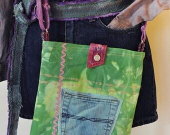 Lime Dyed Denim Handbag Satchel - Hand Made Urban Unique Hand Dyed Upcycled Denim Handbag Over the Shoulder Messenger Book Bag Tote 27
