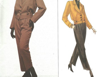 Vogue 1226 / Paris Original / Vintage Designer Sewing Pattern By Yves Saint Laurent / Jacket Pants Suit Pantsuit / Sizes 8 10 12