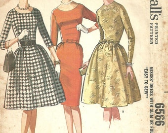 McCalls 6566 / Vintage 60s Sewing Pattern / Dress / Size 14 Bust 34