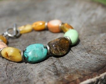 Raw Stone Bracelet Spring Fashion Jewelry Amber Coral Turquoise Teal Blue Orange Chunky Natural Gemstone Toggle African Statement Piece OOAK