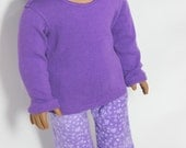 "Cozy Purple Pajama Set for 18"" dolls such as American Girl"