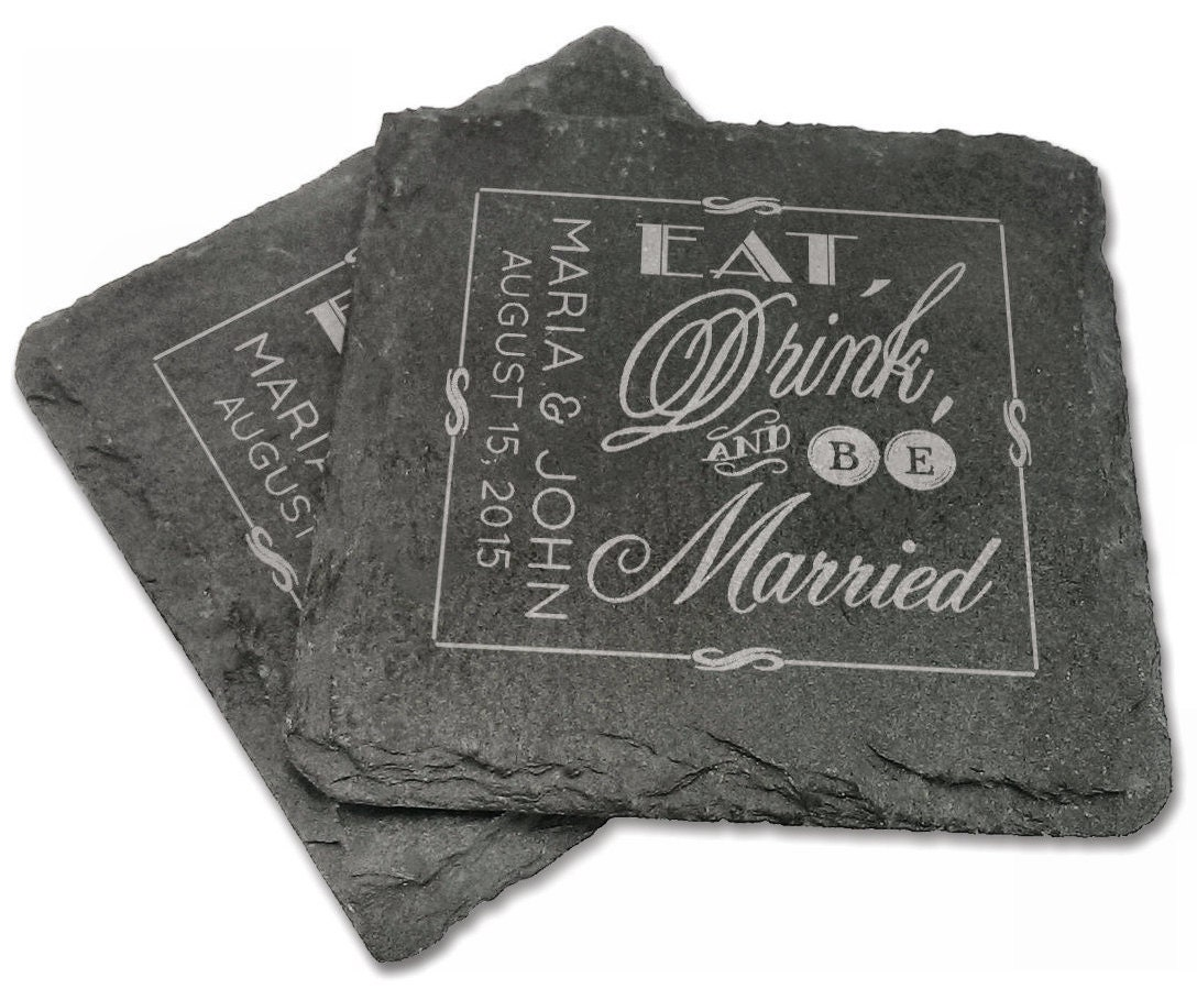 Set of 4 personalized slate coasters wedding eat drink by eugenie2 - Slate drink coasters ...