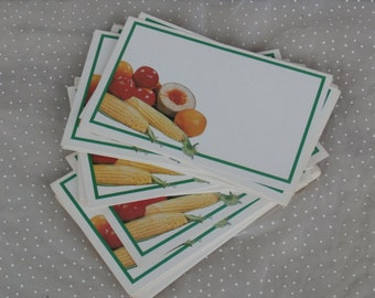 25 Retro Blank Recipe Cards 3.5 X 5.5 inches, Vintage Fruit and Veggie Design
