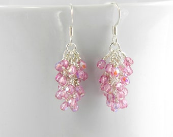 Iridescent Deep Rose Pink Earrings, Pink Dangle Earrings with Surgical Steel Ear Wires